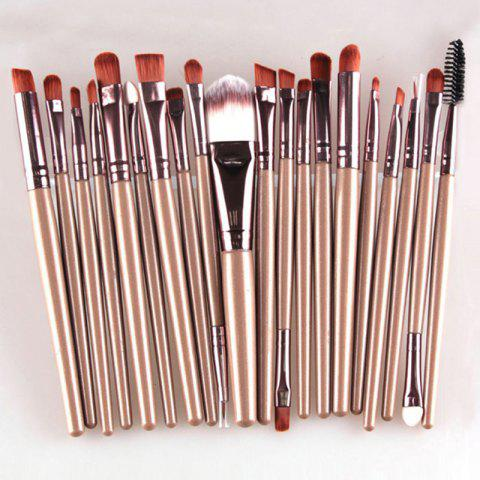 New Stylish 20 Pcs Multifunction Long Plastic Handle Nylon Makeup Brushes Set COFFEE