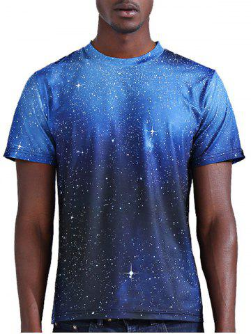 Abstract 3D Star Print Round Neck Short Sleeves T-Shirt For Men - COLORMIX S