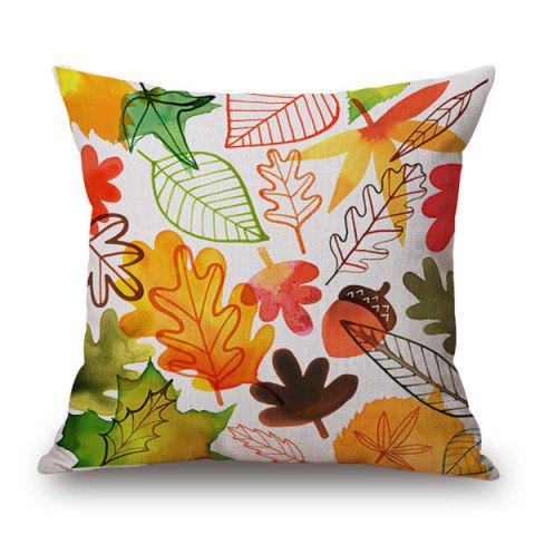 Fancy High Quality Watercolor Maple Leaf Cotton and Linen Pillow Case(Without Pillow Inner)