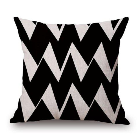 Online Chic Quality Cotton and Linen Ripple Geometric Pillowcase WHITE/BLACK