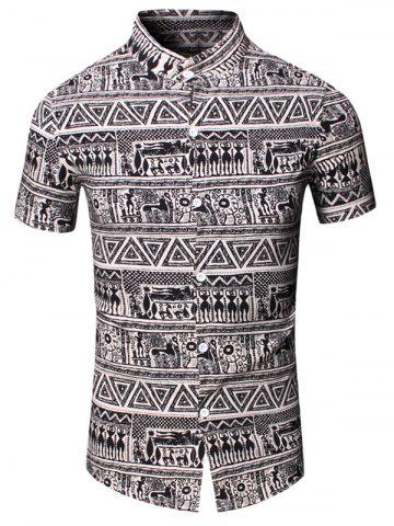 Outfit Turn-Down Collar Totem Geometric Printed Short Sleeve Shirt For Men