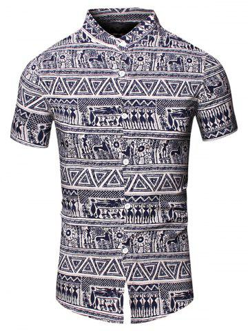 Outfit Turn-Down Collar Totem Geometric Printed Short Sleeve Shirt For Men - XL CADETBLUE Mobile