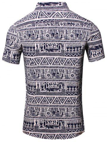 Unique Turn-Down Collar Totem Geometric Printed Short Sleeve Shirt For Men - 3XL CADETBLUE Mobile