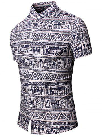 Shop Turn-Down Collar Totem Geometric Printed Short Sleeve Shirt For Men - 3XL CADETBLUE Mobile