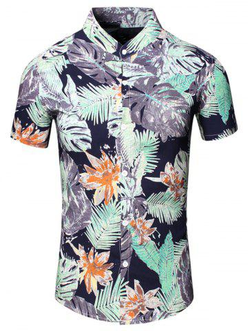Outfits Turn-Down Collar Flower and Leaf Printed Short Sleeve Shirt For Men