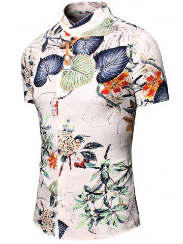 Fashion Turn-Down Collar Flower and Leaf Printed Short Sleeve Shirt For Men - 2XL WHITE Mobile