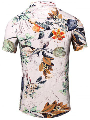 Latest Turn-Down Collar Flower and Leaf Printed Short Sleeve Shirt For Men - 2XL WHITE Mobile