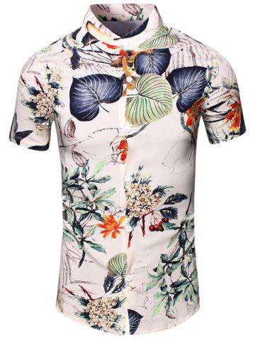 Hot Turn-Down Collar Flower and Leaf Printed Short Sleeve Shirt For Men - 2XL WHITE Mobile