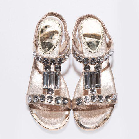 Chic Casual Metal Colour and Rhinestones Design Sandals For Women - 39 GOLDEN Mobile