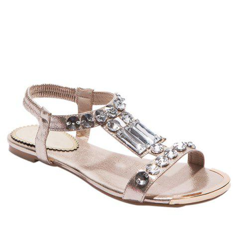Latest Casual Metal Colour and Rhinestones Design Sandals For Women - 38 GOLDEN Mobile