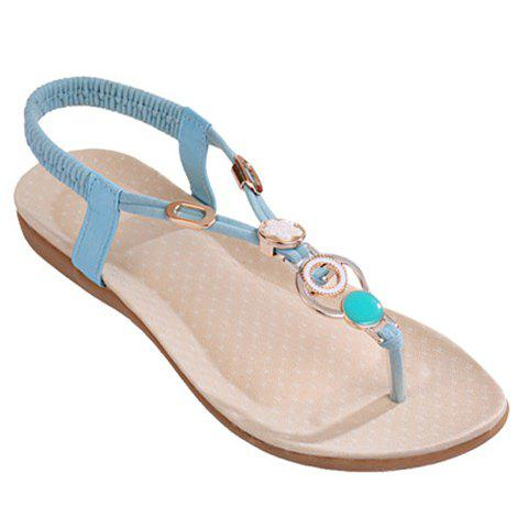Outfit Bohemia Metal and Flat Heel Design Sandals For Women - 39 BLUE Mobile