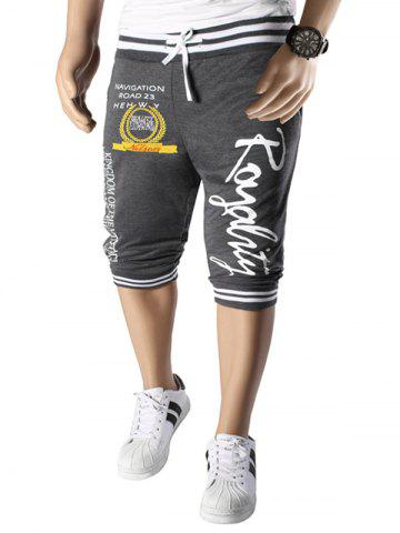 Vogue Beam Feet Letters Pattern Rib Spliced Lace-Up Capri Pants Jogger Shorts For Men - Grey And White - M