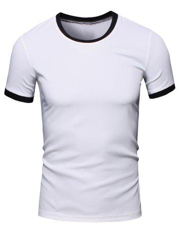 Fashion Simple Round Neck Color Block Short Sleeve Men's T-Shirt - 2XL WHITE Mobile