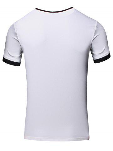 Outfits Simple Round Neck Color Block Short Sleeve Men's T-Shirt - 2XL WHITE Mobile