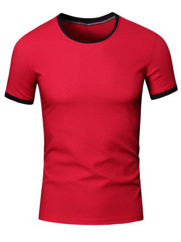 Hot Simple Round Neck Color Block Short Sleeve Men's T-Shirt - XL RED Mobile