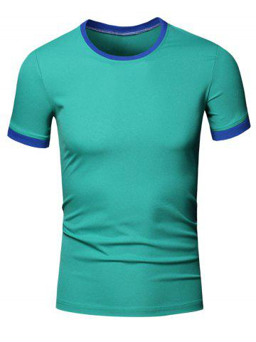 Buy Simple Round Neck Color Block Short Sleeve Men's T-Shirt - L GREEN Mobile