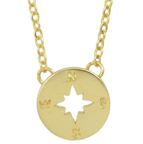 Online Vintage Compass Hollow Out Necklace For Women