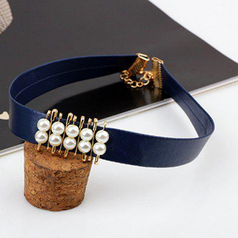 New Faux Pearl PU Leather Choker Necklace