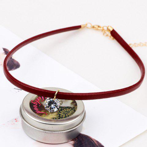 Cheap Faux Crystal PU Leather Choker