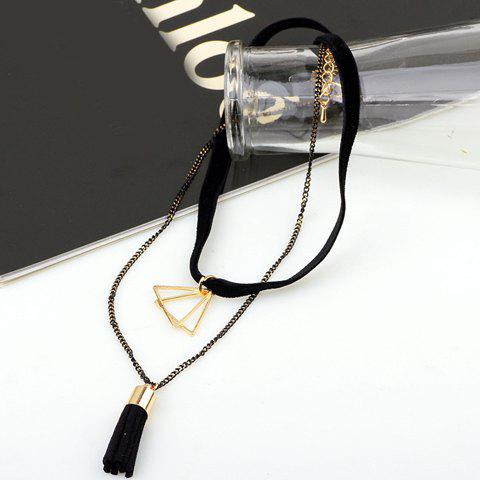 Unique Multilayer Triangle Tassel Chokers Necklace - BLACK  Mobile