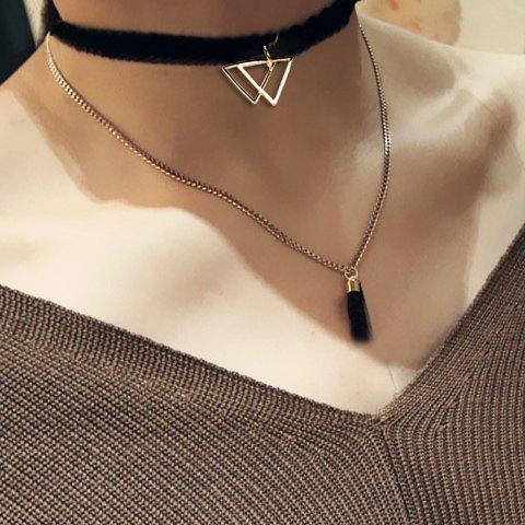 Discount Multilayer Triangle Tassel Chokers Necklace - BLACK  Mobile