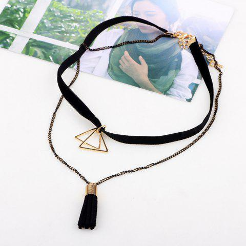 Best Multilayer Triangle Tassel Chokers Necklace - BLACK  Mobile