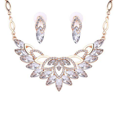 Shop Fake Crystal Statement Necklace and Earrings - WHITE  Mobile