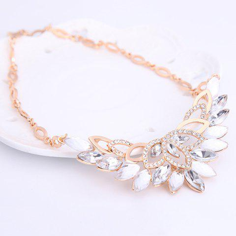 Best Fake Crystal Statement Necklace and Earrings - WHITE  Mobile