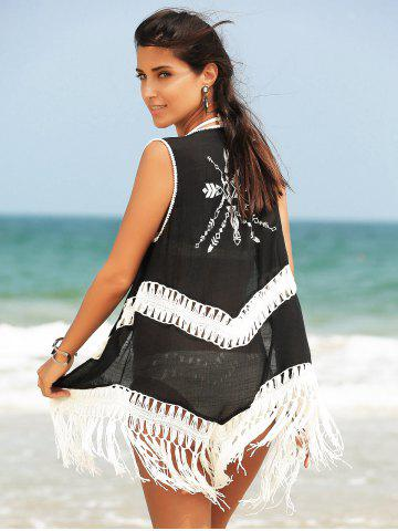 Affordable Fringed Hollow Out Printed Swim Short Kimono Cover Up - ONE SIZE(FIT SIZE XS TO M) BLACK Mobile