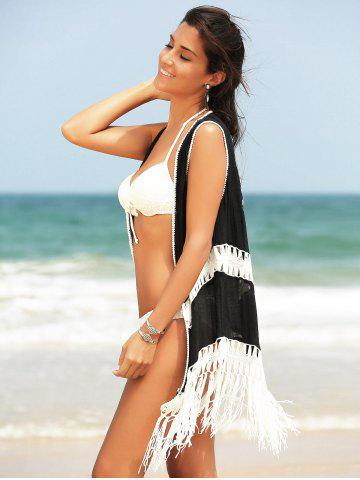 Online Fringed Hollow Out Printed Swim Short Kimono Cover Up - ONE SIZE(FIT SIZE XS TO M) BLACK Mobile