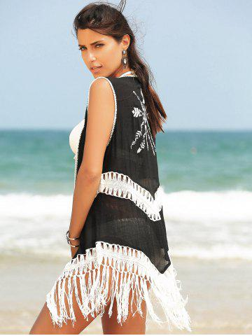 Latest Fringed Hollow Out Printed Swim Short Kimono Cover Up - ONE SIZE(FIT SIZE XS TO M) BLACK Mobile