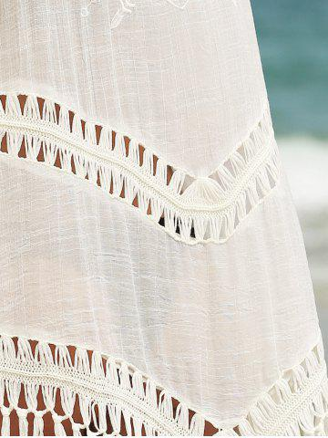 Best Fringed Hollow Out Printed Swim Short Kimono Cover Up - ONE SIZE(FIT SIZE XS TO M) WHITE Mobile