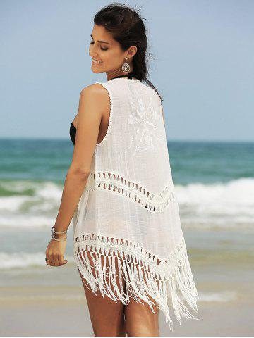 Hot Fringed Hollow Out Printed Swim Short Kimono Cover Up - ONE SIZE(FIT SIZE XS TO M) WHITE Mobile