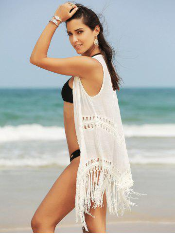 Affordable Fringed Hollow Out Printed Swim Short Kimono Cover Up - ONE SIZE(FIT SIZE XS TO M) WHITE Mobile