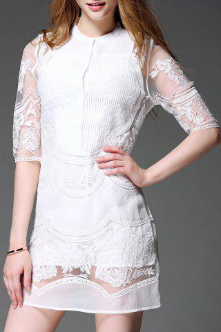 New Stand Collar Lace Embroidered See Through Dress