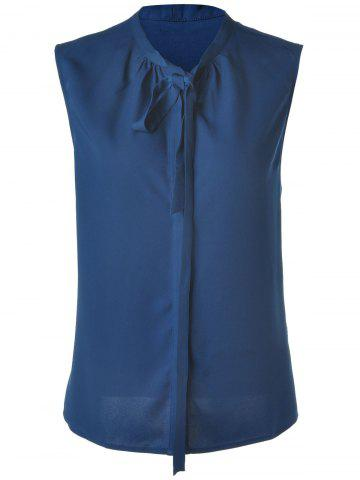 Sale Stylish Women's Deep Blue Bow Collar Sleeveless Blouse