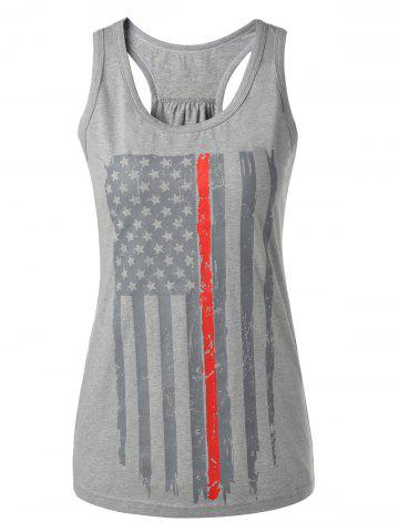 Chic Distressed American Flag Patriotic Tank Top SMOKY GRAY L