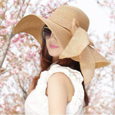 Unique Chic Bow Lace-Up Wide Brim Hot Summer Anti-UV Straw Hat For Women