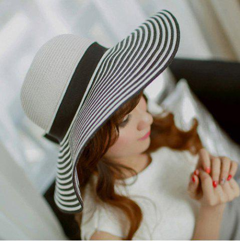 Summer Striped Brim Anti-UV Fedora Straw Hat - White And Black