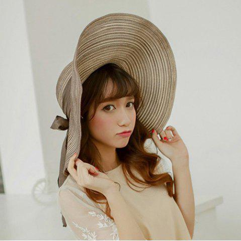 Affordable Chic Bow Lace-Up Wide Brim Hot Summer Anti-UV Striped Straw Hat For Women