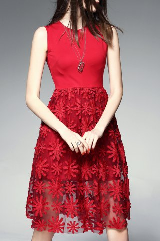 Hot Round Collar Embroidered Pleated Midi Dress