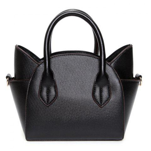 Fashion Cute Cat Shape and Solid Color Design Tote Bag For Women - BLACK  Mobile