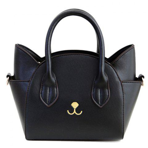 Affordable Cute Cat Shape and Solid Color Design Tote Bag For Women BLACK