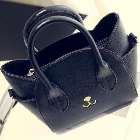 Fancy Cute Cat Shape and Solid Color Design Tote Bag For Women - BLACK  Mobile