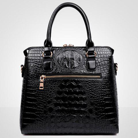 Fashion Fashionable Metal and Embossed Design Tote Bag For Women - BLUE  Mobile