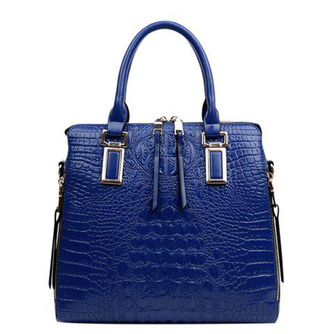 Shop Fashionable Metal and Embossed Design Tote Bag For Women - BLUE  Mobile