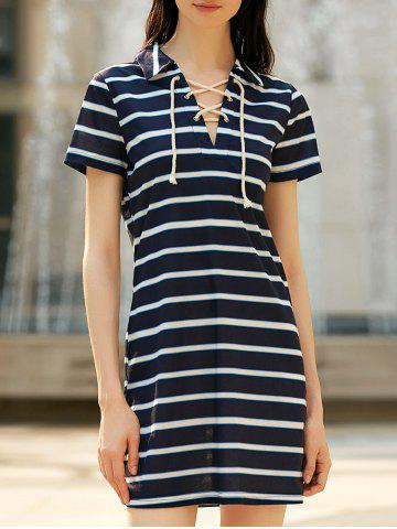 New Lace-up Polo Striped Casual T-shirt Dress STRIPE L