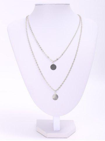 Chic Chic Round Paillette Pendant Double-Layer Necklace For Women