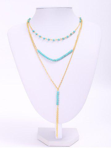 Trendy Trendy Turquoise Beads Tassel Layered Necklace For Women