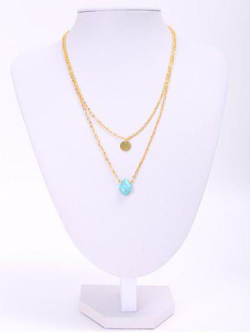 Online Trendy Waterdrop Shape Turquoise Double Layered Necklace For Women
